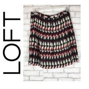 Loft Pleated Lined Circle Skater Skirt Size 10P